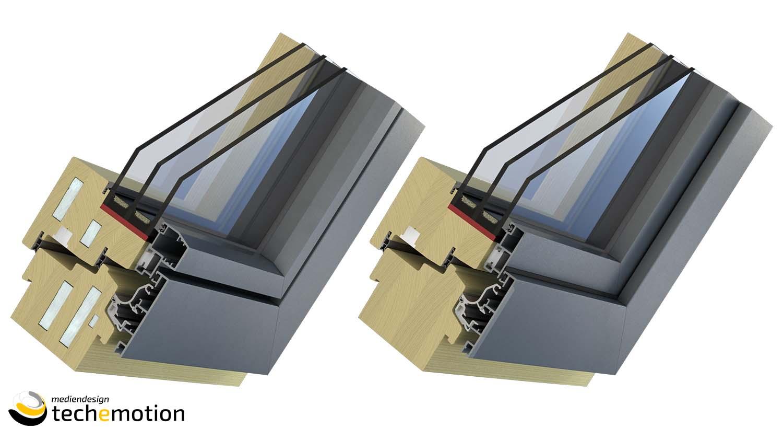 3D Visualisierungen von Fensterprofilen für das Unternehmen Weinzetl Fenster und Türen Copyright by TECHEMOTION Mediendesign